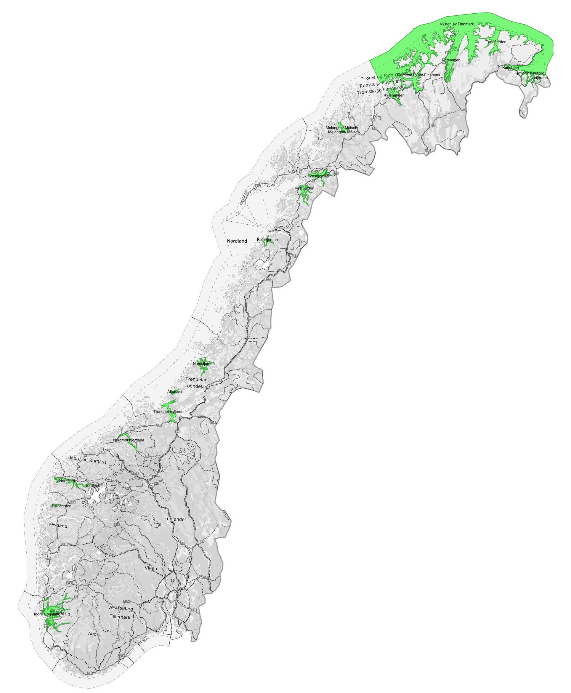Kart over sjølaksefiskeområder fra 2021-26